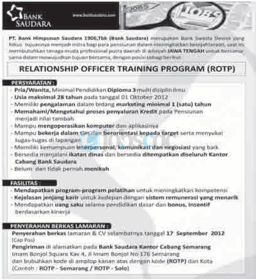 PT Bank Himpunan Saudara 1906 Tbk - D3 Relationship Officer Training