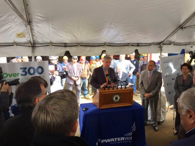 Sen. Sheldon Whitehouse (D-RI) at the ribbon-cutting ceremony for the Deepwater Wind project. (Credit: Drew Grande, senior campaign organizing representative for Beyond Coal in New England) Click to Enlarge.