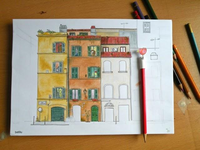 italian facades in progress- illustration by betitu