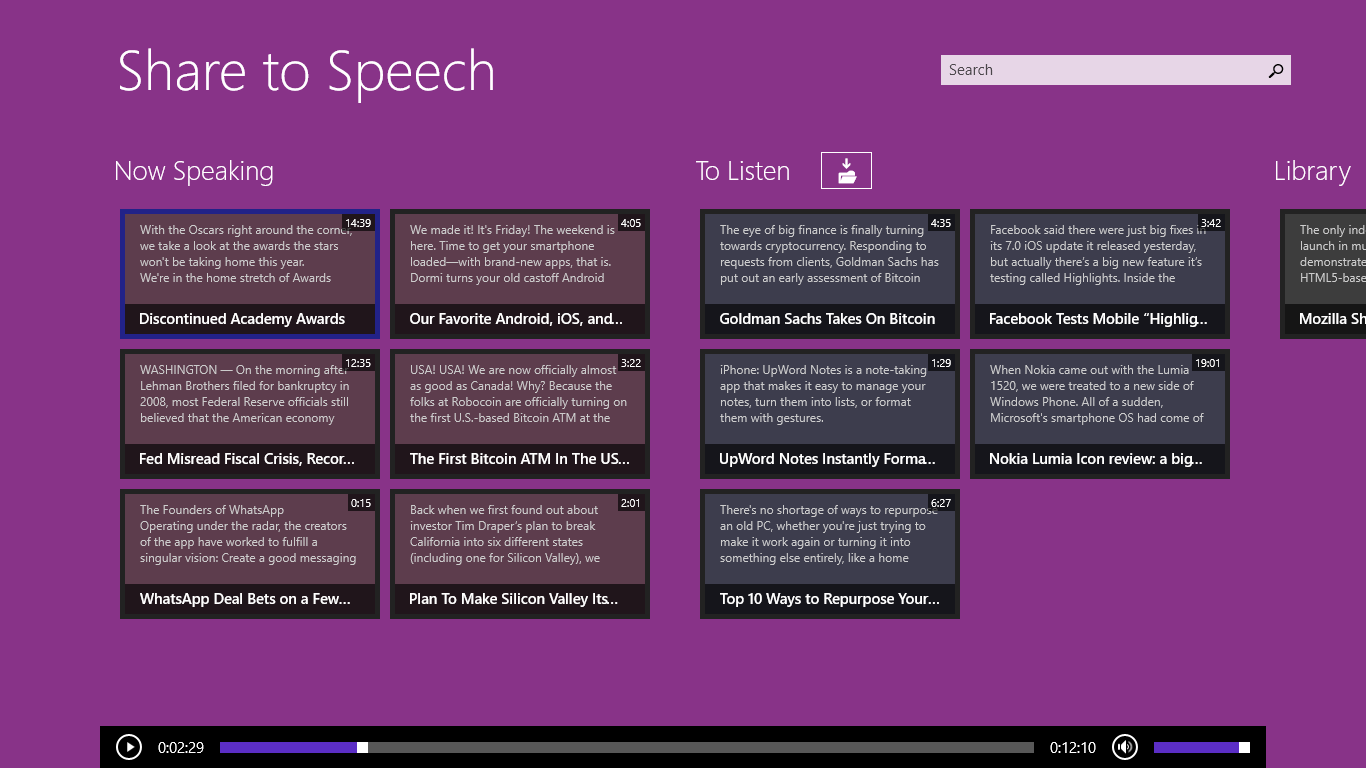 Share to speech main page