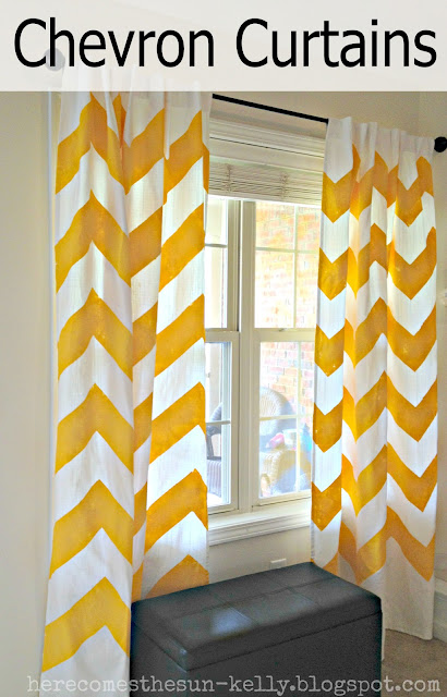 DIY Yellow Chevron Curtains
