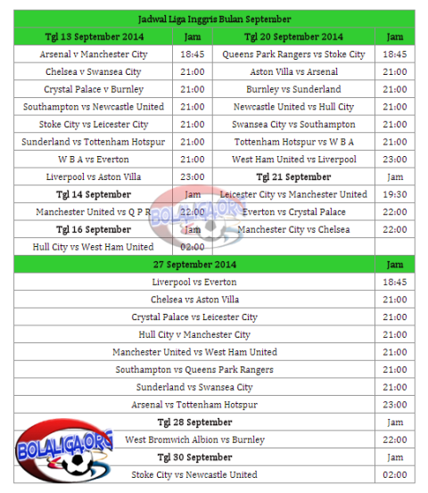 Jadwal Liga Inggris Musim 2014/2015 Terbaru