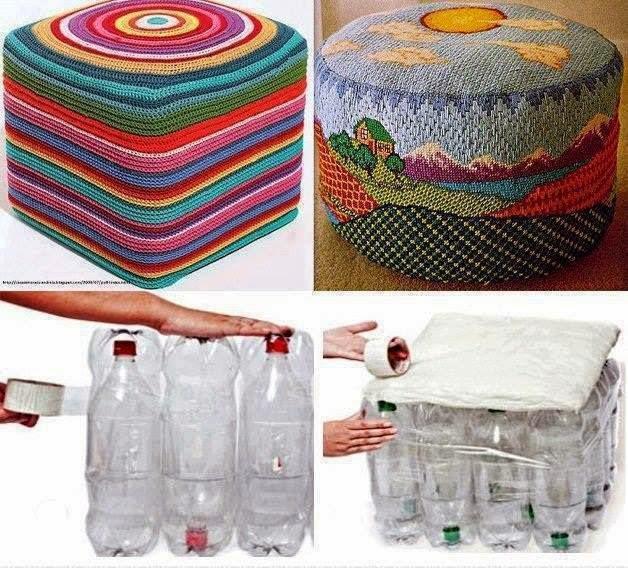 reciclar botellas de pl?stico para hacer un asiento~ Reciclar Botellas De Plastico Decoracion