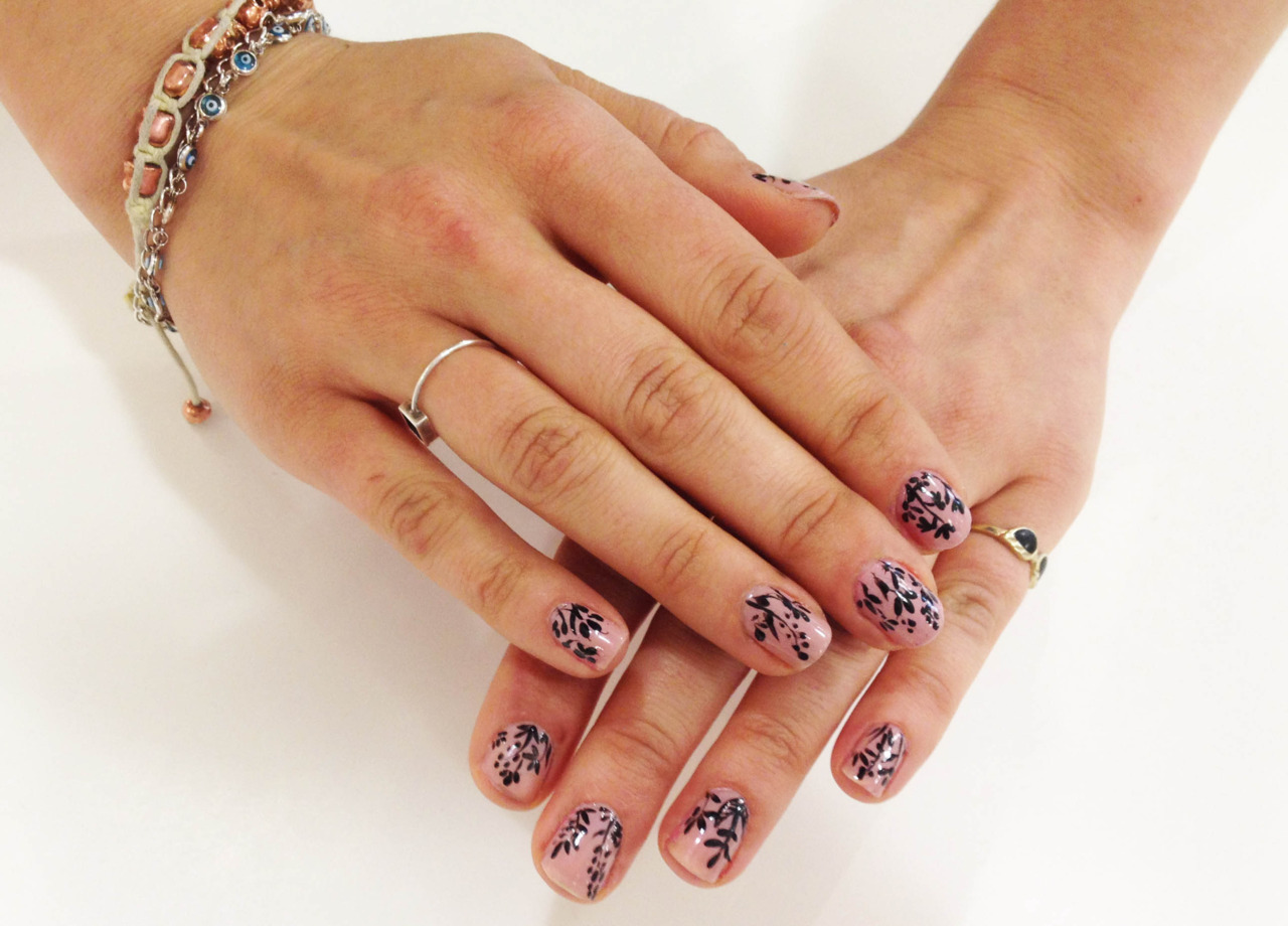 Shadow Flowers Nail Design Ideas by uneedamanicure