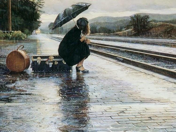 Girl Waiting for Train In Rain