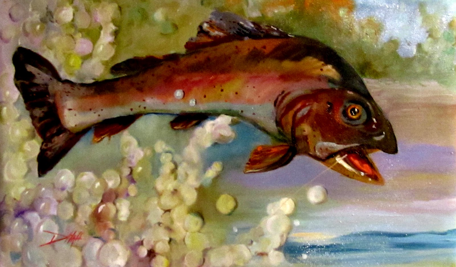 Painting of the day daily oil paintings by delilah catch for Fish paintings on canvas