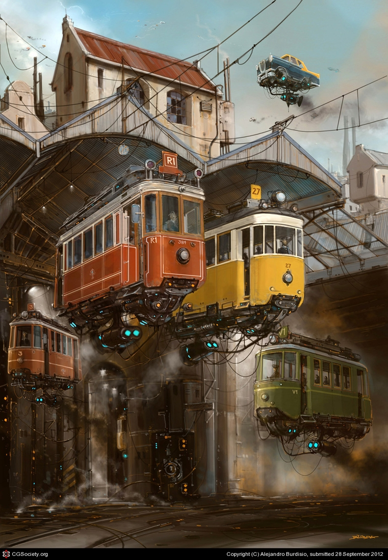 17-Tranvías-Tramcars-Alejandro-Burdisio-Fantasy-Illustrations-in-the-Scrap-Metal-Universe-www-designstack-co