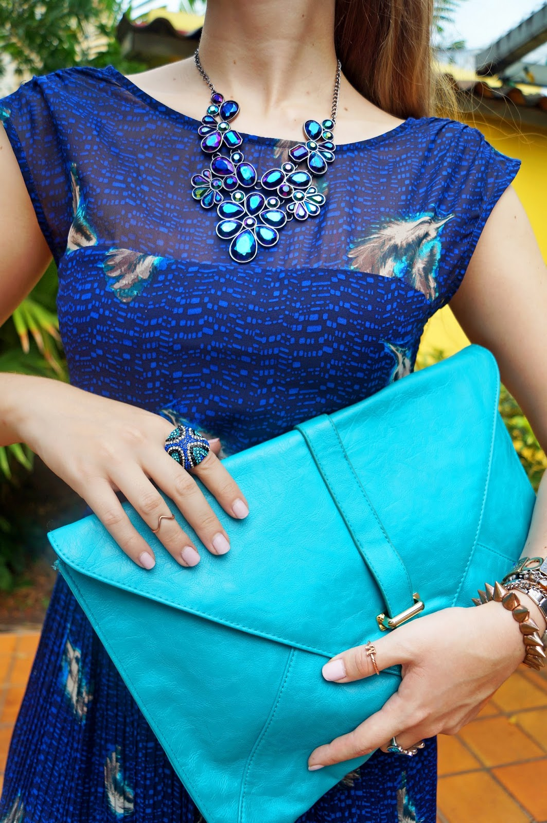 spring dress outfit, spring fashion, spring outfits, fashion blog, asos clutch, blue dress outfit, forever 21 necklace