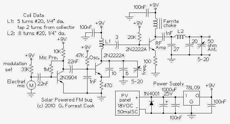 simple solar powered long range fm transmitter circuit diagram rh streampowers blogspot com stereo fm transmitter circuit schematic FM Transmitter Components