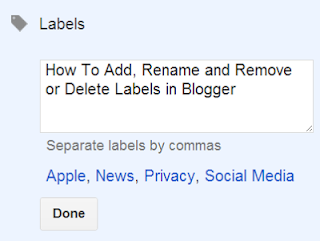 How To Add, Rename and Remove or Delete Labels in Blogger