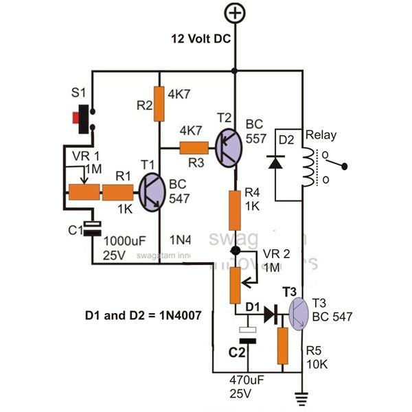 simple hobby electronic circuit projects homemade circuit projectsthe circuit can be used for generating delays at a desired rate the on time of the relay can be controlled by adjusting the pot vr1 while the pot vr2 may