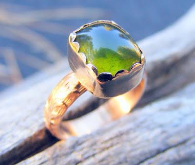 vesuvianite gold ring