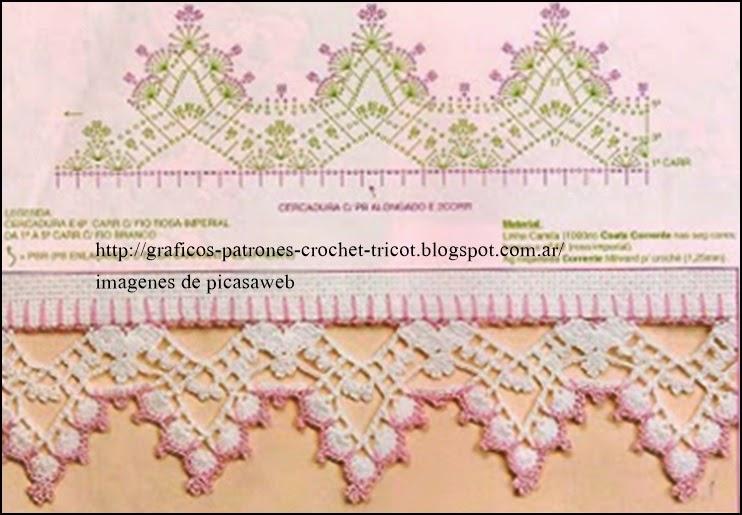 patrones   crochet   ganchillo   graficos mas puntillas para la
