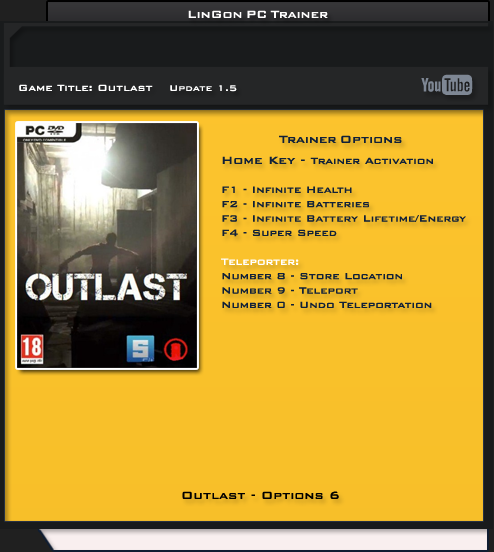 Outlast v1.5.0 Fixed +6 Trainer [LinGon]