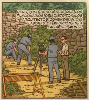 """Topógrafos en acción en el manga """"La montaña mágica"""" de Jiro Taniguchi"""