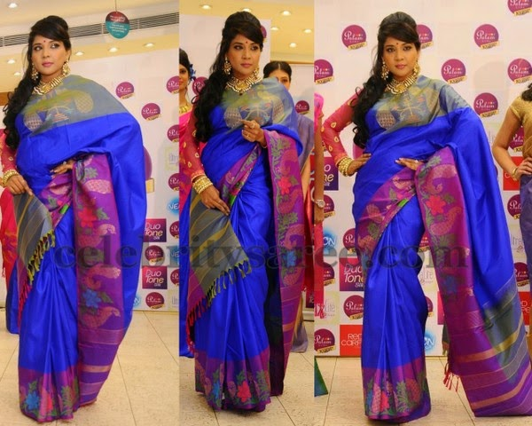 Blue Pink Soft Uppada Silk Saree