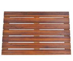 GLS Bathroom Spa Shower or Door Floor Mat in Solid Teak Wood