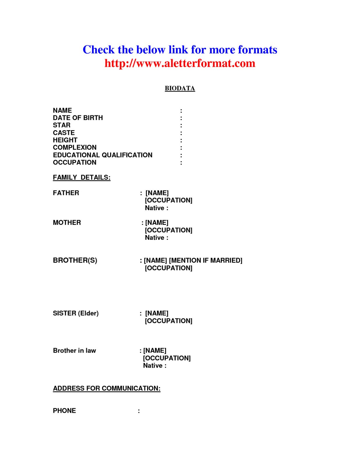 marriage biodata format
