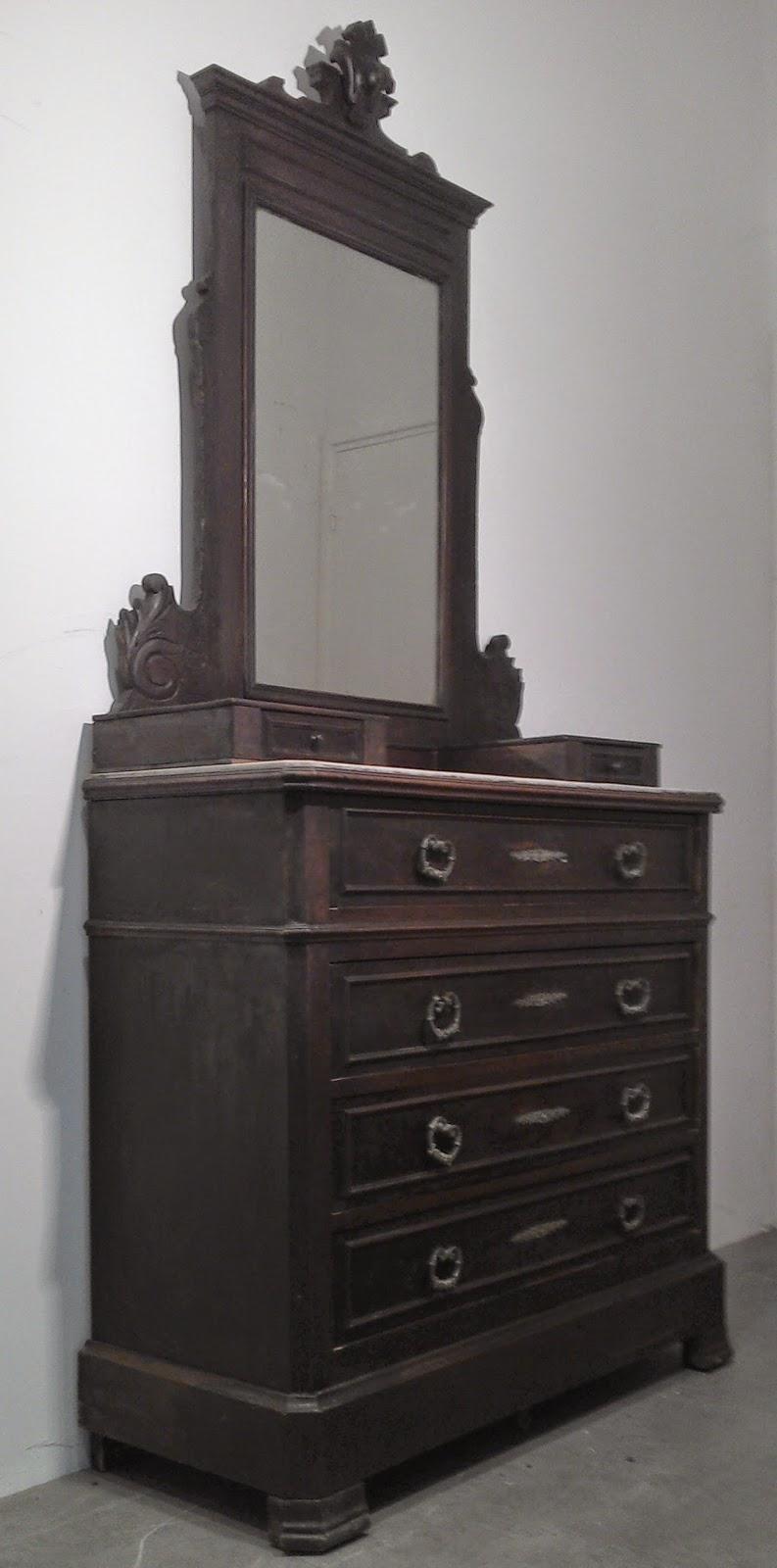 Ancien meuble coiffeuse commode a tiroirs surmont d - Coiffeuse meuble ancien ...