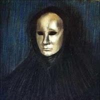 Màscara sobre fons blau