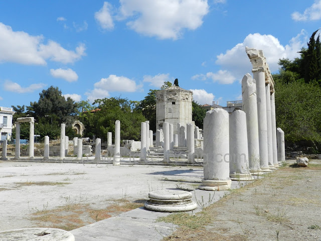 The remaining columns from the courtyard in the Roman Agora