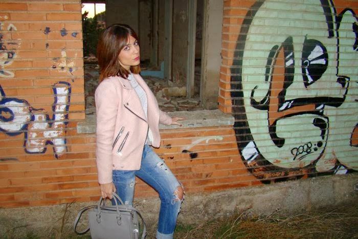 graffiti, vaqueros, cazadora,