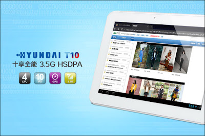Hyundai T10, Tablet Android ICS, 10 Inci, Quad-core , Layar IPS
