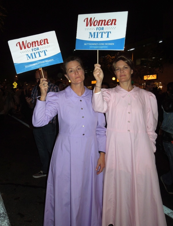 Women for Mitt costumes West Hollywood Halloween Carnaval 2012