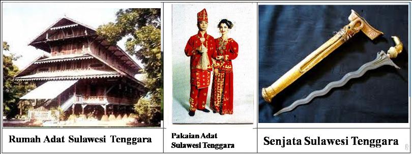 rumah,pakaian,senjata adat sulawesi tenggara