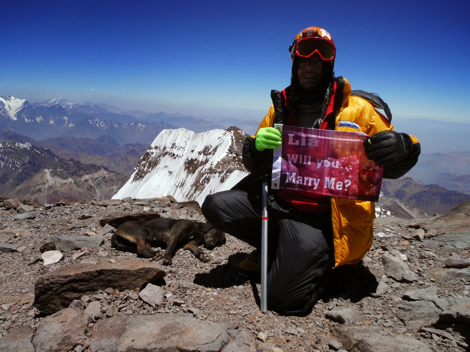Will You Marry Me Flag on the summit of Aconcagua