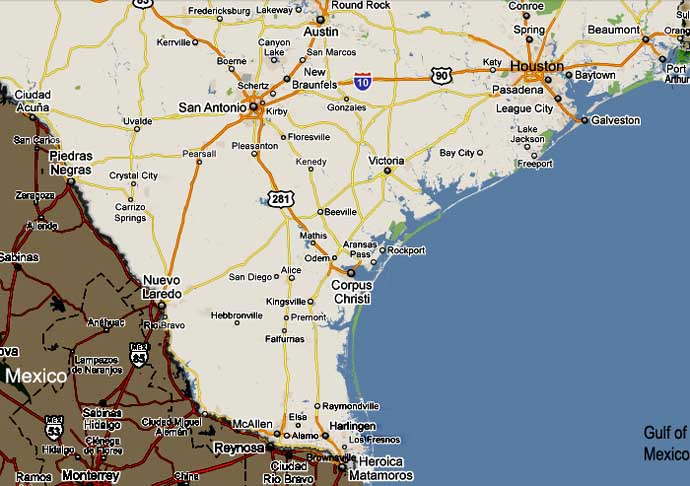 Map Of South Texas Towns