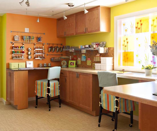 Bright Basement Work Space Decorating Ideas