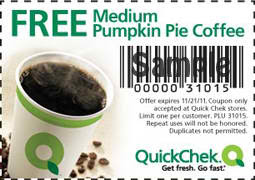 Free Pumpkin Pie Coffee at Quick Chek