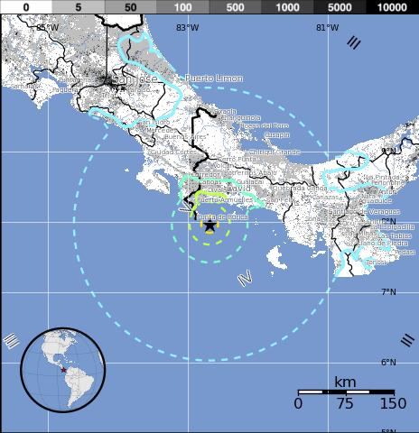 Epicentro sismo 6,7 grados en el Pacífico de Panamá, 8 de Diciembre 2014