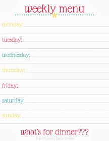Weekly Menu Planning Printable #free #printable