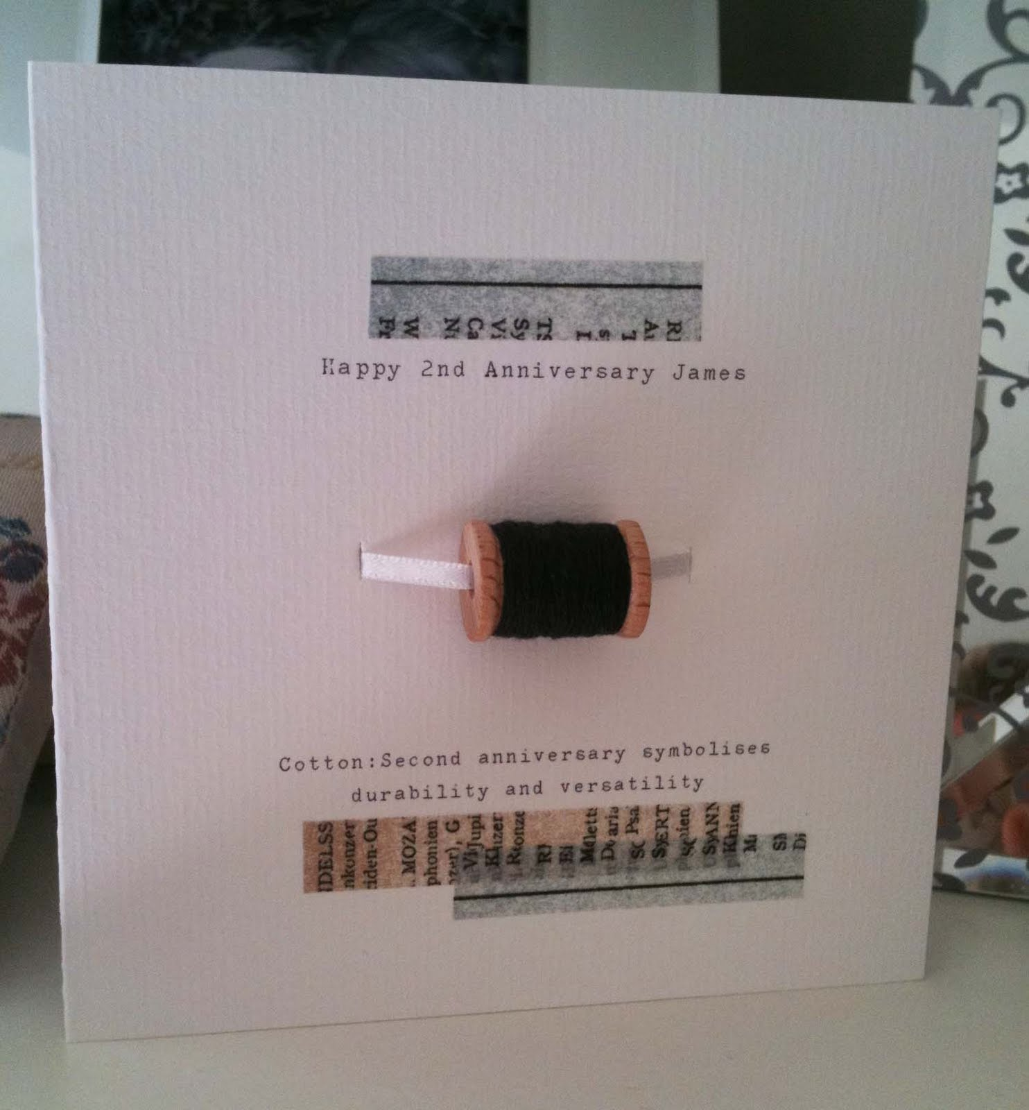 2nd Wedding Anniversary Gifts Cotton For Her : Button Box Cards Ltd: 2nd wedding anniversary card