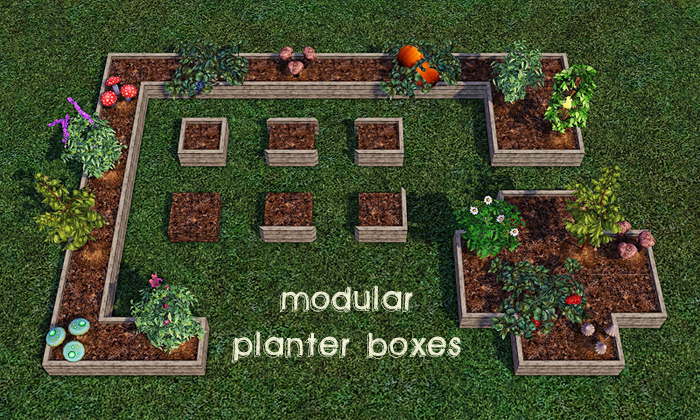 My sims 3 blog modular planter boxes by gelinabuilds for Sims 3 garden design ideas