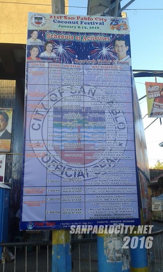 San Pablo City Coco Festival 2016 Schedule Of Activities