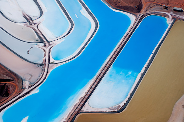 """Potash evaporation ponds with blue dye near Moab, Utah..."" by Kevin Beebe - aerial desert photography"