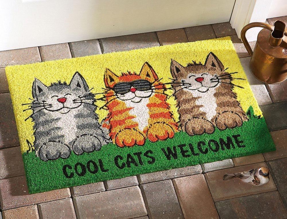 Smiling Cartoon Cat Doormat