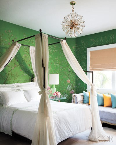 Wrought iron four poster bed in green chinoiserie wallpaper, via Lamb and Blonde