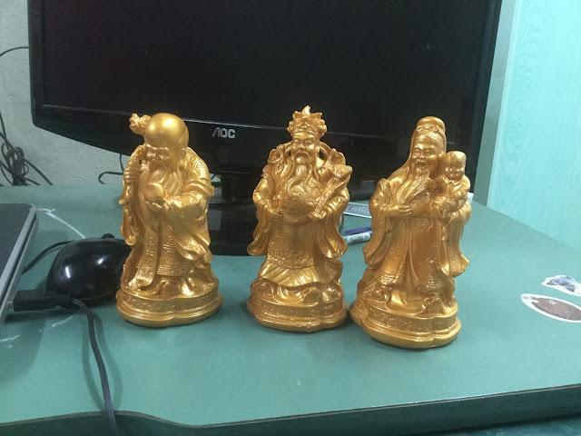 tượng tam đa màu đồng nhạt sinh động