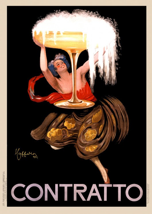 advertising, classic posters, food, free download, free printable, french poster, graphic design, printables, retro prints, vintage, vintage posters, vintage printables, Contratto Asti Champagne 1922 Italy - Vintage Advertising/Wine Poster