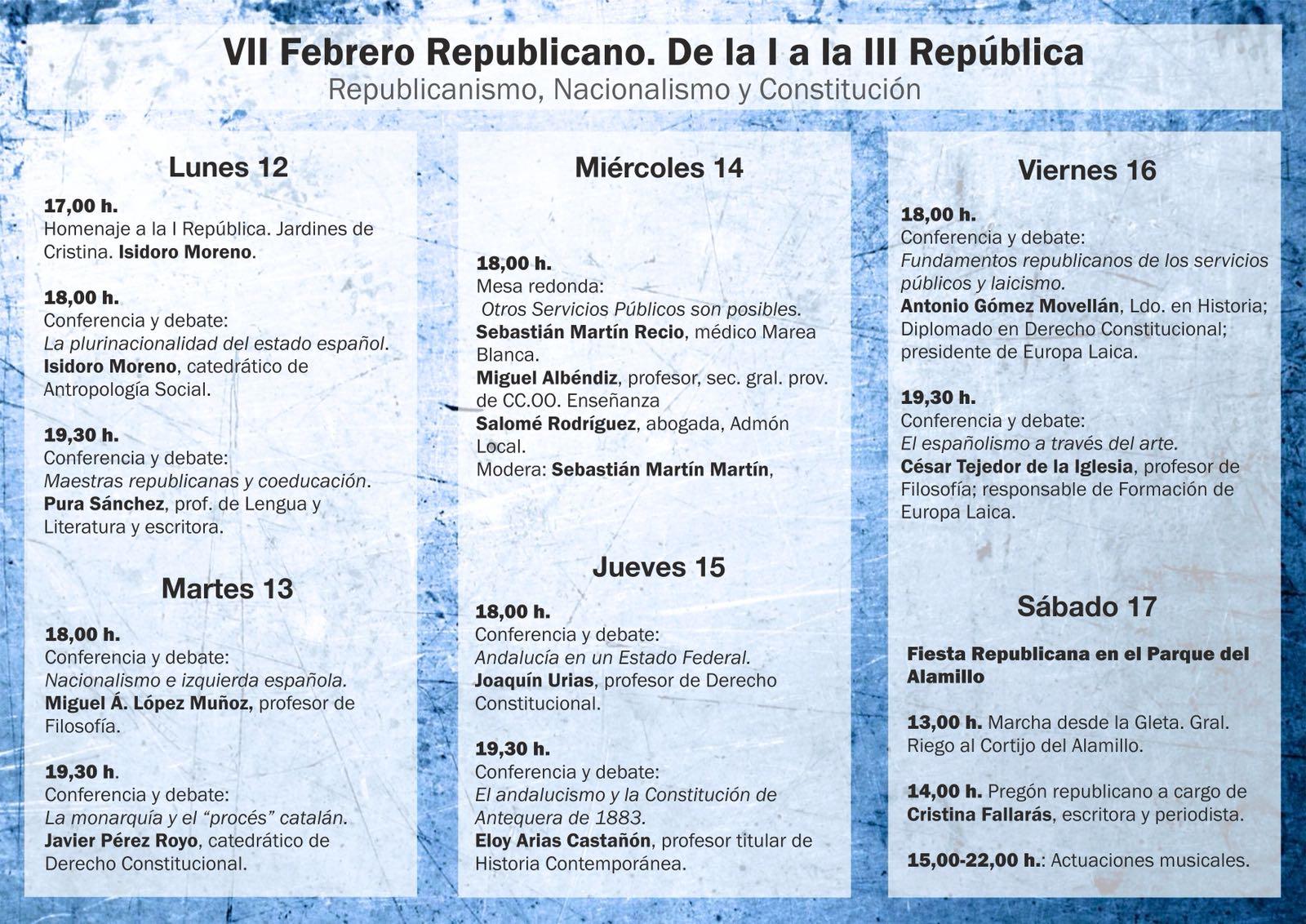 PROGRAMA  DE LAS JORNADAS: Republicanismo,Nacionalismo y Constitución.