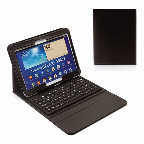 Bluetooth Keyboard Leather Case for Samsung Galaxy Tab 3 10.1 P5200 P5210 P5220 - Black