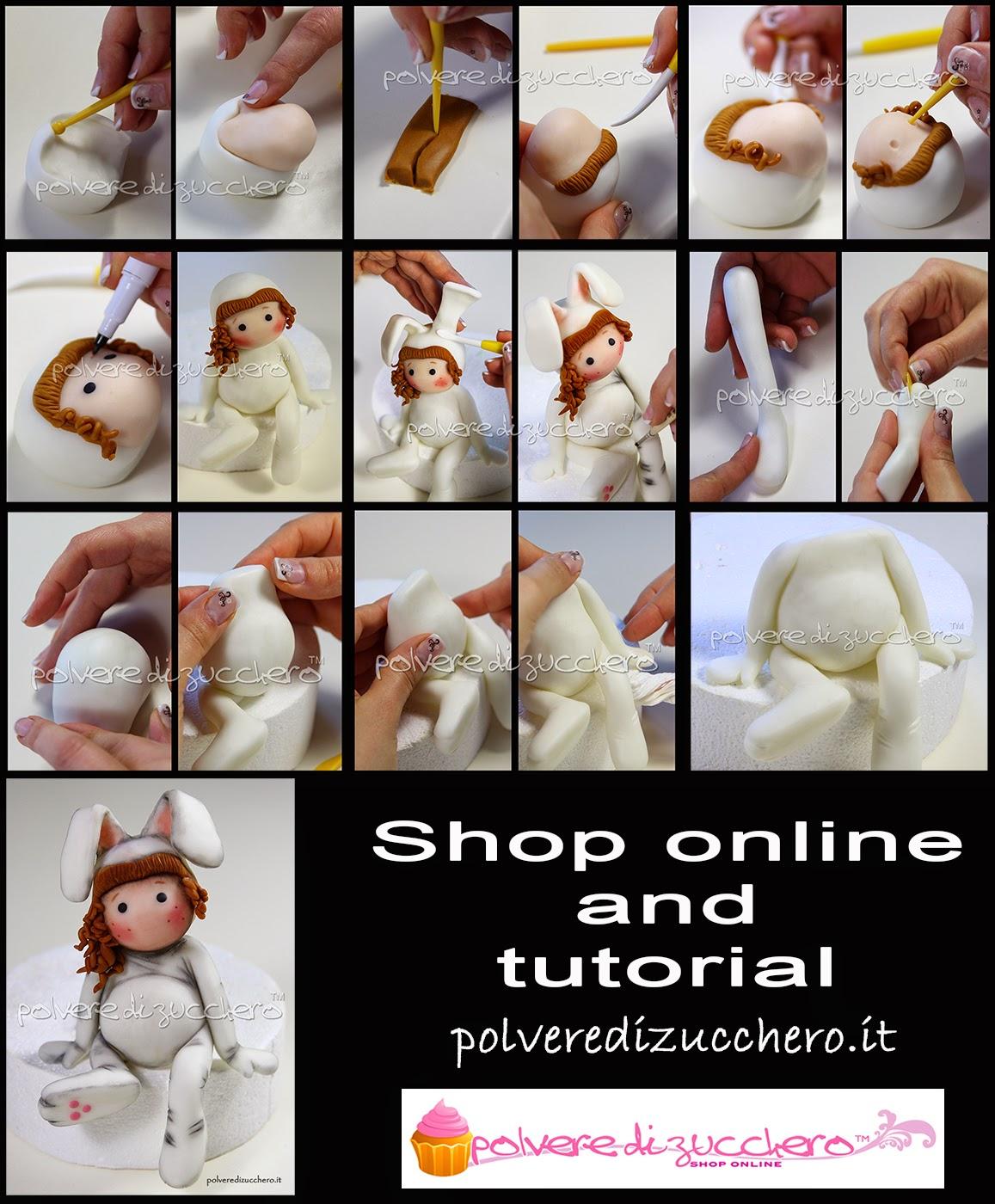 tutorial passo a passo pasqua easter idea coniglio pasta di zucchero decorazioni polvere di zucchero