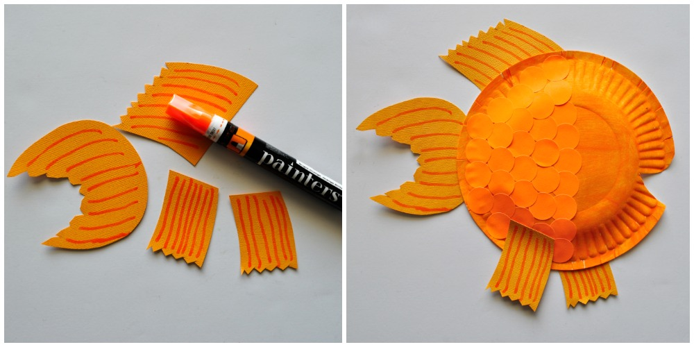 5 glue your fins to your paper plate finish your fish by for Paper plate fish