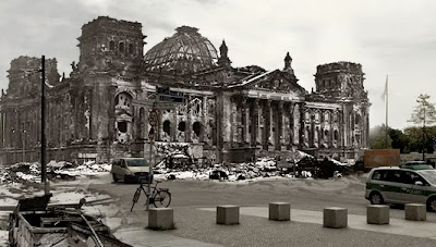 Reichstag during winter of 1945. Merged with present day.