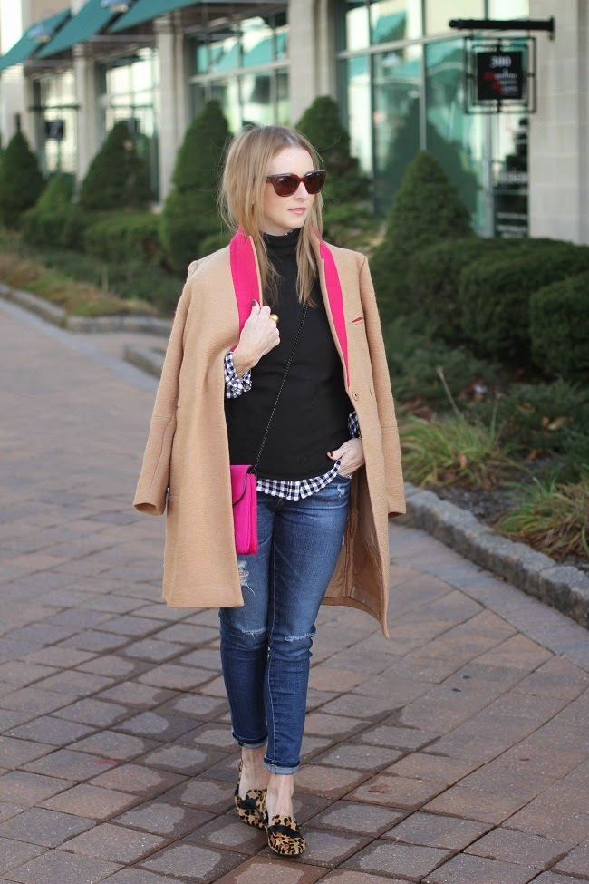 asos coat, jcrew turtleneck, jcrew factory gingham, loeffler randal clutch, AG jeans, steve madden leopard flats, julie vos jewelry, daniel wellington watch