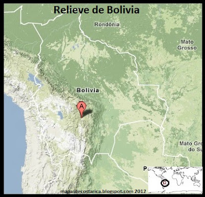 Mapa de Relieve de Bolivia 